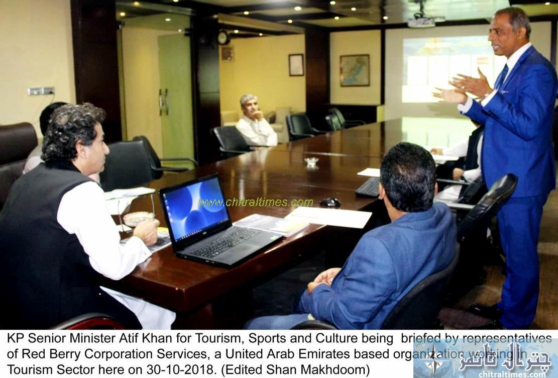 KP Senior Minister Atif Khan for Tourism Sports and Culture being briefed by representatives