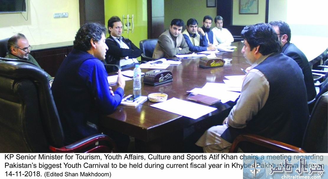 KP Senior Minister for Tourism Youth Affairs Culture and Sports Atif Khan chairs a meeting regarding