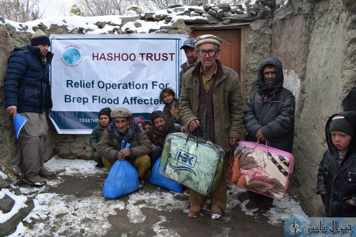 hashoo distributes relief items in brep chitral