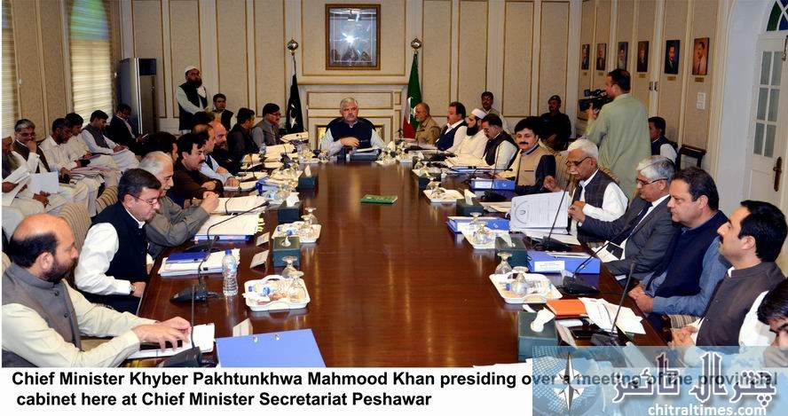 Chief Minister Khyber Pakhtunkhwa Mahmood Khan presiding over a meeting of the provincial cabinet here at Chief Minister Secretariat Peshawar