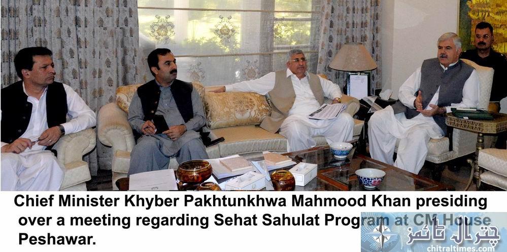 chief Minister Khyber Pakhtunkhwa Mahmood Khan presiding over a meeting regarding Sehat Sahulat Program at CM House Peshawar