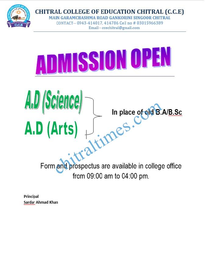 Admission Open Chitral College of Education