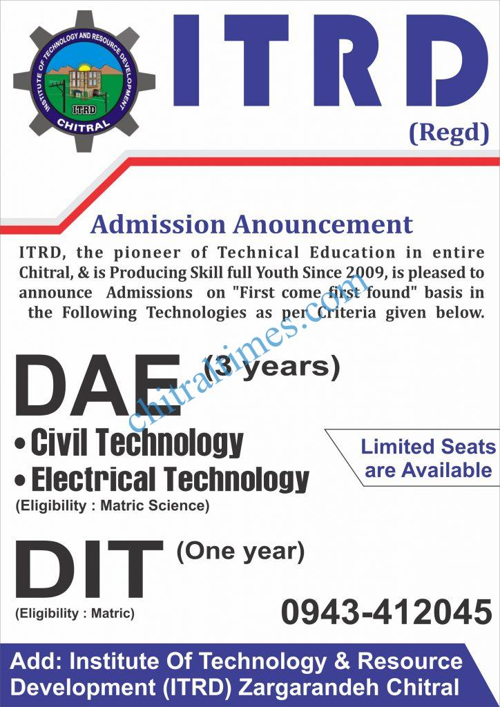 Admission Open-ITRD Chitral