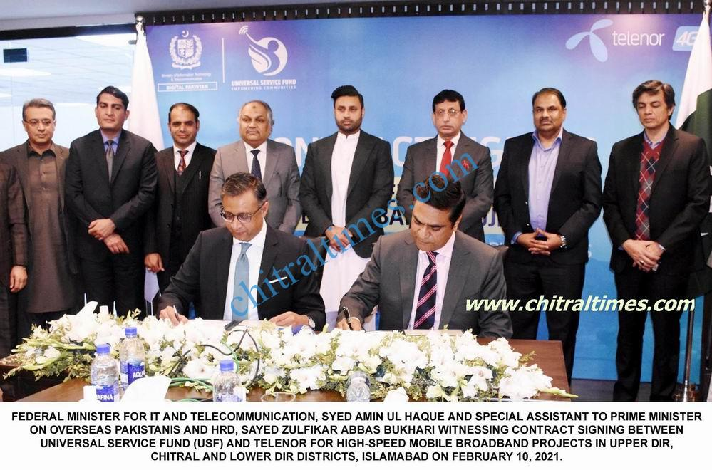 contract signed between usf and telenor for high speed broadband for chitral dir lowe and upper