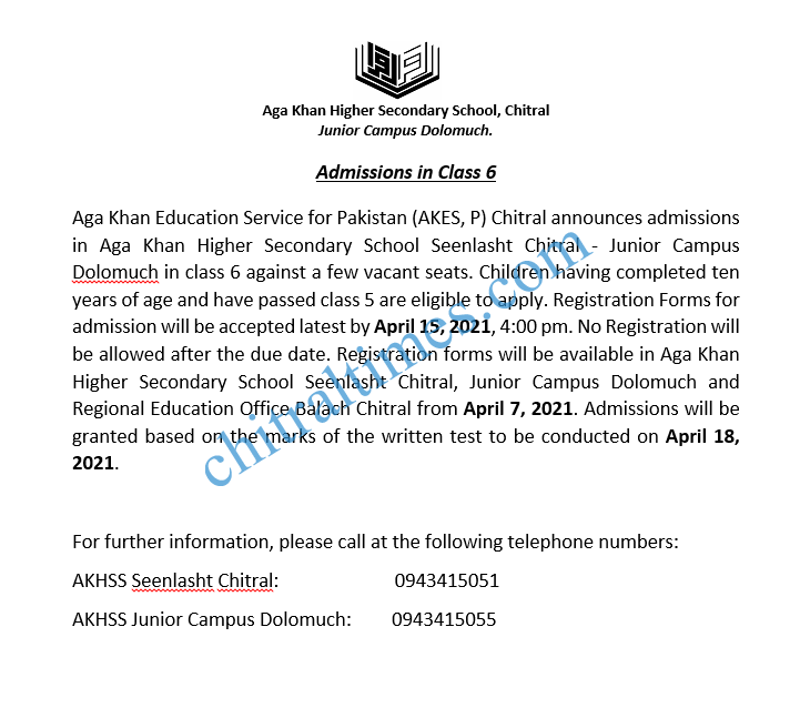 Admission Open-Class 6-AKESP Chitral